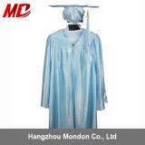 Bleu de ciel brillant de robe de chapeau de la graduation des enfants