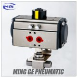 Robinet à tournant sphérique pneumatique de tourillon d'acier inoxydable avec le dispositif d'entraînement (MAGNÉSIUM-QDQF-B-NPT3/4)