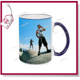 15oz Blank Sublimation Mugs com Colorful Rim e Handle