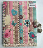 Impressão personalizada Double Spiral Hard Cover Diary Notebook with Lock