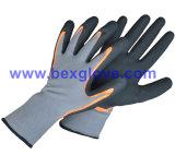 вкладыш нейлона 15gauge/Spandex, покрытие нитрила, перчатки безопасности Микро--Пены