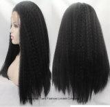 """30 """" perucas retas Kinky da parte dianteira do laço do Afro brasileiro do cabelo humano"""