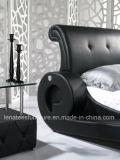Auto geformtes Schwarz-Leder-Bett des Entwurfs-A038