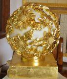 حجر رمليّ حديقة كرة نحت [لد] يشعل فانوس ذهبيّة مع وسائل سمعيّة المتحدث
