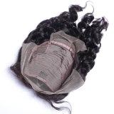 漂白されるインドのRemyの人間の毛髪のかつら130%/150%の密度の新しい方法デザインインドの自然な波はレースの中型のブラウンカラー毛を結ぶ