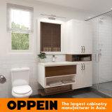 Oppein lacado blanco de baño de madera de la vanidad del gabinete con el lavabo (OP16-HS02BV1)
