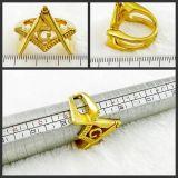 anillo de dedo masónico plateado 18k del oro