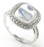 Anello reso personale moderno dell'argento sterlina di modo 925 dei monili dell'argento di disegno con l'anello di pietra R10558 della CZ