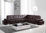 Sofa de cuir véritable de salle de séjour (H-9050)