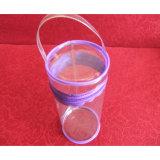 Sacchetto trasparente promozionale della maniglia della chiusura lampo del PVC di figura del cilindro