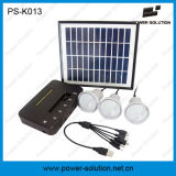 Mini sistema de iluminação portátil da potência solar do projeto com o carregador do painel solar de 11V 4W e do telefone do USB (PS-K013)
