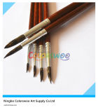6PCS Wooden Handle Animal Fiber Hair Artist Brush para Painting y Drawing (color de Brown)