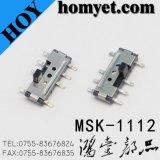 4pin縦SMDのタイプスライドスイッチ三位トグルスイッチ(MSK-1112)