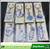 Metal azul y blanco promocional Keychain de la porcelana