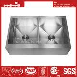 Bassin de cuisine fabriqué à la main de cuvette de double d'avant de tablier d'acier inoxydable