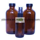 Янтарные стеклянные бутылки с черной крышкой