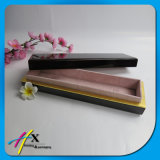 Conjunto de madera laqueado negro brillante grueso de lujo del rectángulo de almacenaje de la joyería de 2 pedazos del MDF