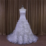 Tee-Länge kurze Organza-Hochzeits-Kleider
