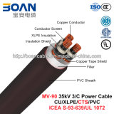 Mv-90, Copper Tape Shield Power Cable, 35 KV, 3/C, Cu/XLPE/Cts/PVC (ICEA S-93-639/NEMA WC71/UL 1072)