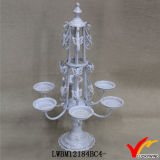 Shabby Chic White Pedestal 3 Candle Holder with Hurricane Glass