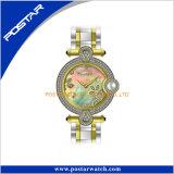 Orologio del regalo delle donne della fascia del cuoio dell'incastronatura del diamante con la perla