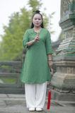 Vêtement de mode sportif Long-Sleeved à haute teneur de chanvre en bambou oblique de ressort de Taoism et de collier de Sunmer