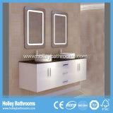 LED Touch Switch High Gloss Paint Double lavabo Meubles de salle de bain à deux tiroirs (BF122D)