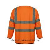 Veste elevada da segurança de Refelective da visibilidade da luva longa