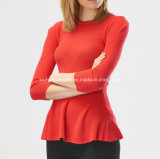 Camisola das senhoras Knitted Round Neck Long Sleeve com Softer Handfeel