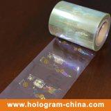 Lámina para gofrar caliente olográfica de la seguridad transparente