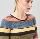 Dame Oversized Cotton Sweatershirt durch strickenden Entwurf