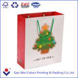 Qualité faite sur commande et sac de cadeau de papier de Noël estampé par fantaisie avec des traitements