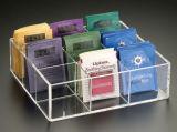 La aduana de la fábrica transparente. Café de acrílico coloreado, rectángulo de almacenaje del bolso de té, envase del bolso de té