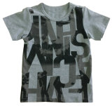 T-shirt de garçon pour des vêtements d'enfants avec l'impression de l'eau de la qualité douce Sqt-606