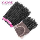 Brasilianische verworrene lockiges Haar-Bündel mit Spitze-Schliessen