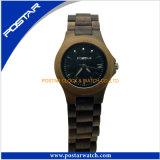 Montre faite sur commande du bois d'hommes de montre de marque de modèle de couleur de vente en gros pure normale initiale de temps