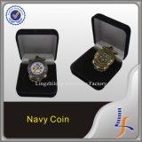 Moneda personalizada de la marina con el embalaje del rectángulo del terciopelo