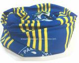 OEM Opbrengst drukte het Aangepaste Embleem de Promotie Hoofd Bleekgele af Sjaal van de Bandana van Sporten Blauwe