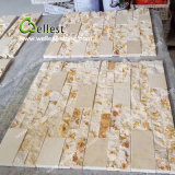 Placage en pierre de marbre beige ensoleillé jaune pour le mur