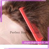 El 100% hecho a mano ningún enredo ninguna peluca china de vertimiento del frente del cordón de las pelucas del pelo de la Virgen