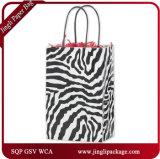 Le zèbre a estampé mini le logo de achat d'impression personnalisé de sac de papier de sac de papier de couleur de clients de Cub par pliage