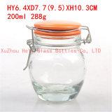 ふたが付いている200ml食糧ガラス容器のシール・ガラスの瓶