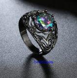 黒によってめっきされる神秘的なCZの宝石類のリング(R0841)