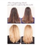 La enderezadora del pelo del vapor con calor rápido del cepillo hasta 230c o 450f máximo, aljofara blanco