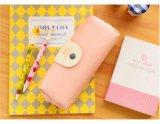 純粋なカラーSnap-Fastenerの革学校の筆箱か袋の韓国人の文房具