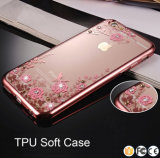 Preiswerter transparenter TPU Kasten des Preis-Handy-Zusatzgeräten-ultra mit dem Luxuxkristalldiamant-Gold, das rückseitigen Deckel für iPhone 6 6s plus unterbringt