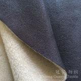 Tissu de cuir de suède de polyester avec le support d'ouatine de moutons