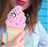 Nueva caja del teléfono móvil del diseño del silicón del helado del postre para el iPhone 6 más