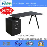 Neues Design Black Glass u. Steel Frame Office Table Furniture mit Hanging Pedestal.