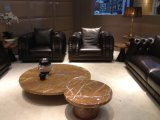 居間の上のグレーンレザーのソファー
